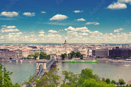 BUDAPEST, HUNGARY- JUNE 05, 2017: City landscape with  Szechenyi Chain Bridge