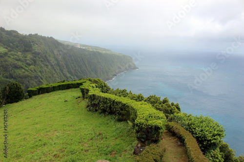 Foto op Canvas Wit Green coast of the Atlantic Ocean.Azores