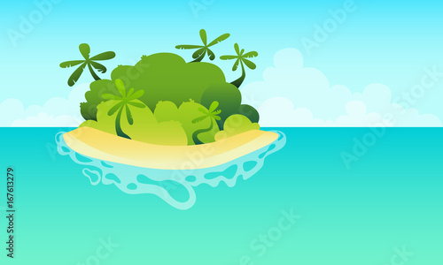 Plexiglas Groene koraal Wild island in the ocean with a sandy beach and palm trees. Vector illustration