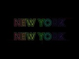 Word New York, New York in Rainbow Colors Builds Up Slowly On Black Background - 167614053