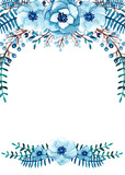 Frame with Watercolor Blue Flowers, Berries, Leaves - 167620216