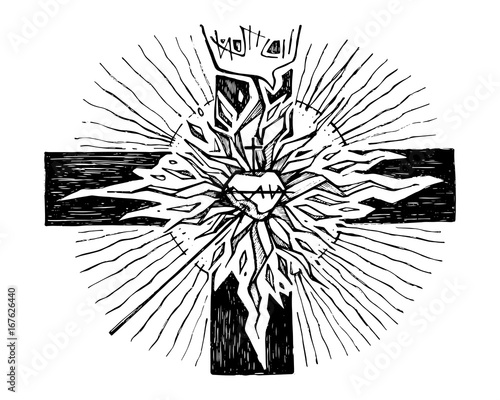 Ink Illustration Of A Christian Religious Cross And Symbols Buy