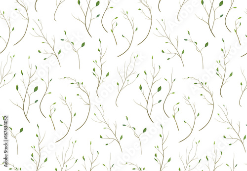 Pattern seamless of Tree branch different foliage natural branches, green leaves elements in watercolor style. Vector decorative beautiful delicate background texture print design elegant illustration - 167634052