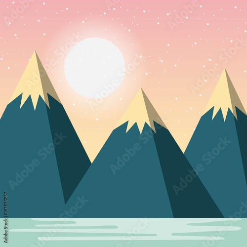 Relaxing cold landscape icon vector illustration design graphic