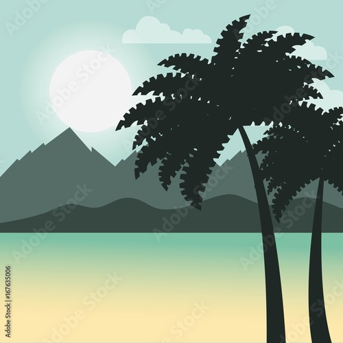 Poster Khaki Relaxing cold landscape icon vector illustration design graphic