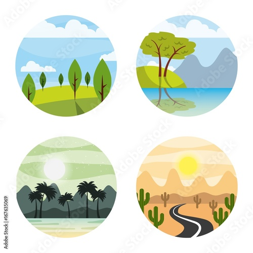Foto op Canvas Wit icons set landscape vector illustration design graphic
