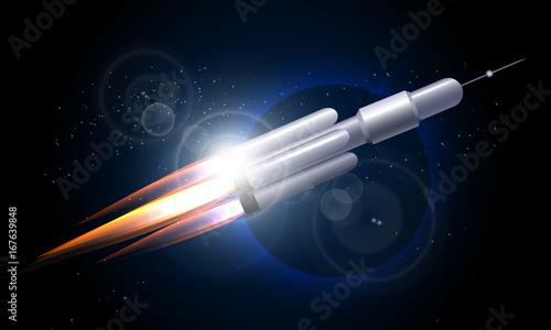 Foto op Canvas UFO Rocket in the Space