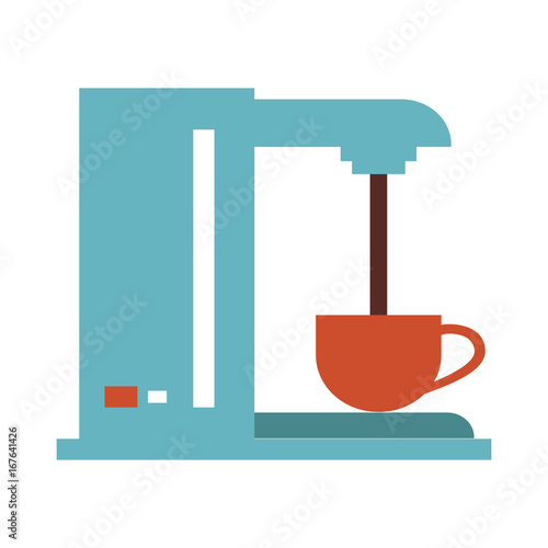 Sticker coffee making machine  icon image vector illustration design