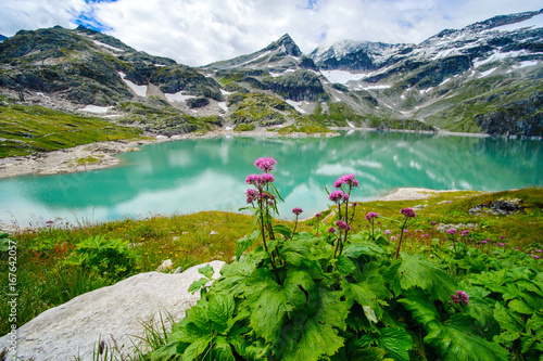 alps landscape - glacial lake in front of mountains and blue sky © Firma V