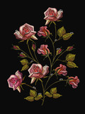 Embroidery beautiful roses, classical embroidery rose flowers with dew drops on black background. Fashion template for clothes, textile t-shirt design - 167642209