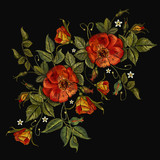 Embroidery wild roses, dogrose flowers. Fashionable template tapestry flowers renaissance. Classic style embroidery, beautiful dogrose pattern vector. Vintage buds of wild roses on black background - 167642222
