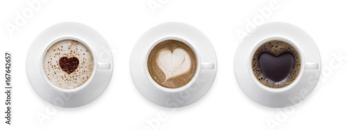 Foto op Canvas Koffie Heart shape, love symbol on black hot coffee cup, lover sign on Coffee cup of LATTE, Cappuccino, Mocha 3 styles for coffee lover isolate on white background with clip path.