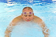 Fat man in the swimming pool