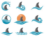 icon set of angry shark fin with sea waves