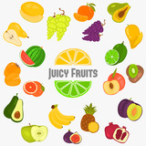 Fruits color flat icons set for web and mobile design