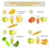 Useful fresh recipes of drinks vegetable and fruit color infographics on white backgrouns