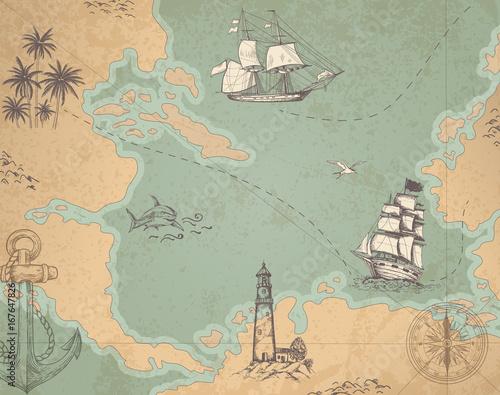 Fototapeta Vintage vector marine map