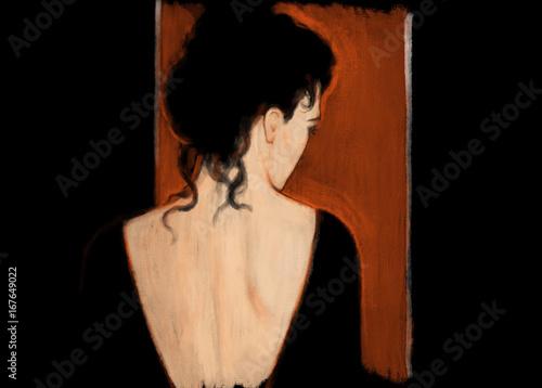 Beautiful woman in black dress. Fashion illustration. - 167649022