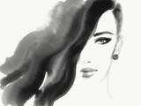 Beautiful woman face. Fashion illustration. Watercolor painting - 167650014