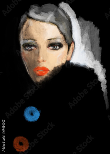 Beautiful woman in coat. Fashion illustration.