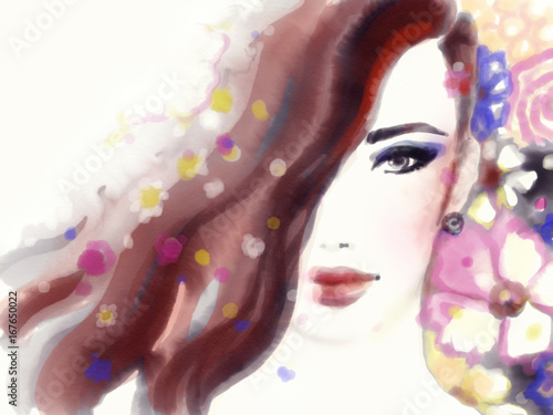 Beautiful woman face. Fashion illustration. Watercolor painting