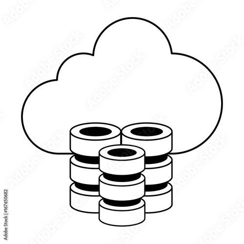 cloud storage with databases icon image vector illustration design