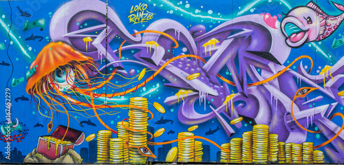 Graffiti: Schatz am Meeresgrund