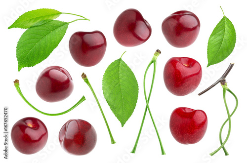 Poster Cherry isolated on white background. Collection