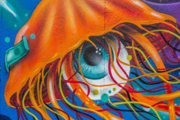 Graffiti: Qualle und Auge