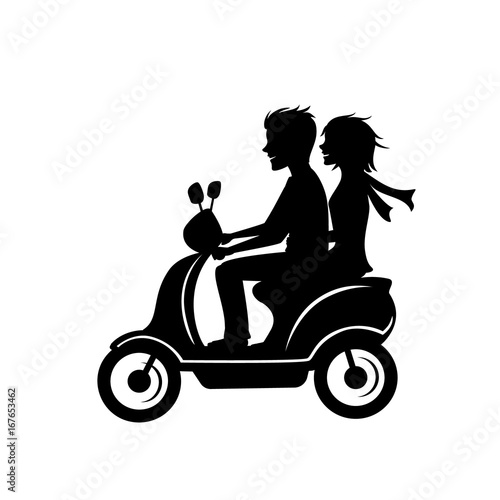 couple driving scooter silhouette