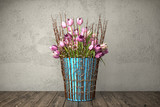 3d render - bouquet of pink tulips in blue bucket on a wooden table against rough wall background - still life.
