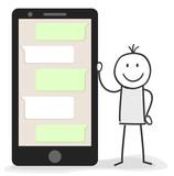 Figur mit Smartphone und Chat Verlauf für Support oder Soziale Netzwerke - 167657870