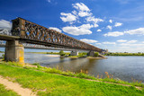 Old railway bridge over Vistula river in Tczew, Poland