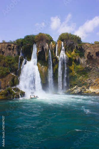 Duden waterfall in Antalya Turkey. Mediterranean sea. Travelling. - 167667437