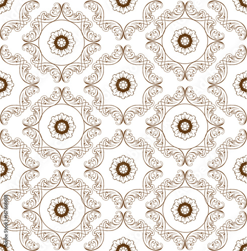 Vector seamless pattern with floral ornaments. Ornate floral decor for wallpaper. Endless vintage texture - 167668688