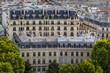 Haussmannian building facades and mansard rooftops in summer. 17th Arrondissement of Paris. France