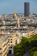 Paris rooftops in summer with view on the Invalides and Montparnasse Tower. Paris, France