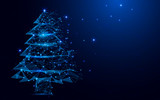 Wireframe A Christmas tree sign mesh from a starry on blue background
