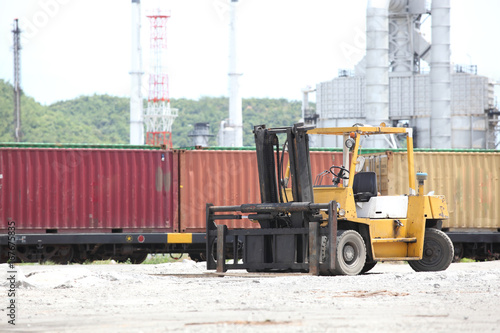 oil refinery and container shipping on daylight Poster