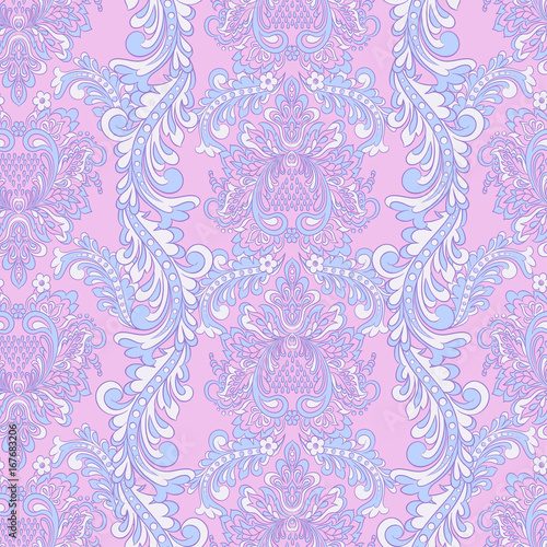 Baroque style wallpaper seamless floral pattern.