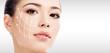 Leinwandbild Motiv Pretty woman against a grey background with copyspace