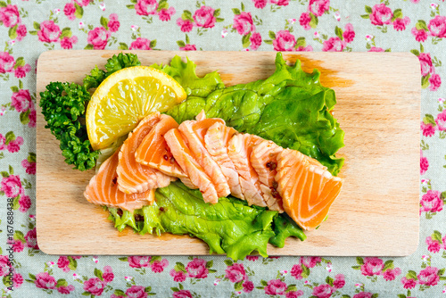 Wall mural Salmon Tataki Japanese food salmon fillet