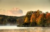 foggy fall morning at lake