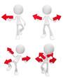 White Figure Four Arrows