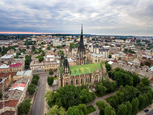 Aerial view of the Church Of St. Elizabeth In Lviv, Ukraine - 167699099