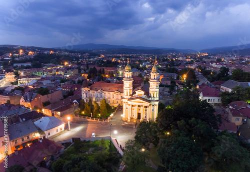 Foto op Canvas Europa Flying over Uzhgorod city Ukraine