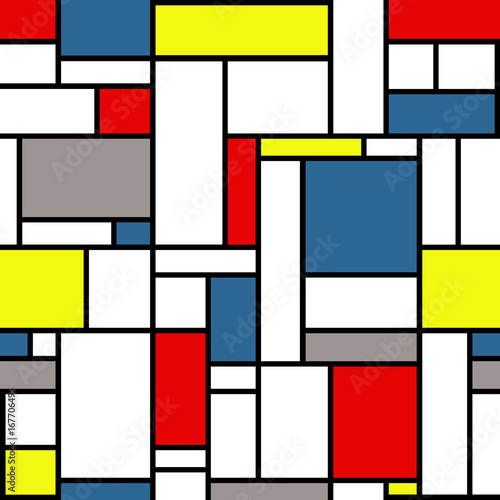 Mondrian style pattern with white, black, yellow, red, gray and blue, colors © anasztazia