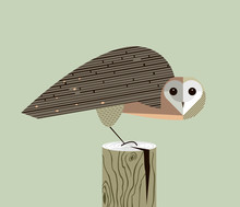 Owl Sits On The Stump Sticker