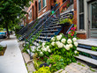 Typical Montreal neighborhood street with staircases - 167708090