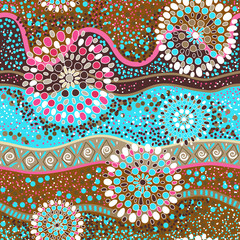 Colorful decorative pattern. Ethnic background. Australian abstract style